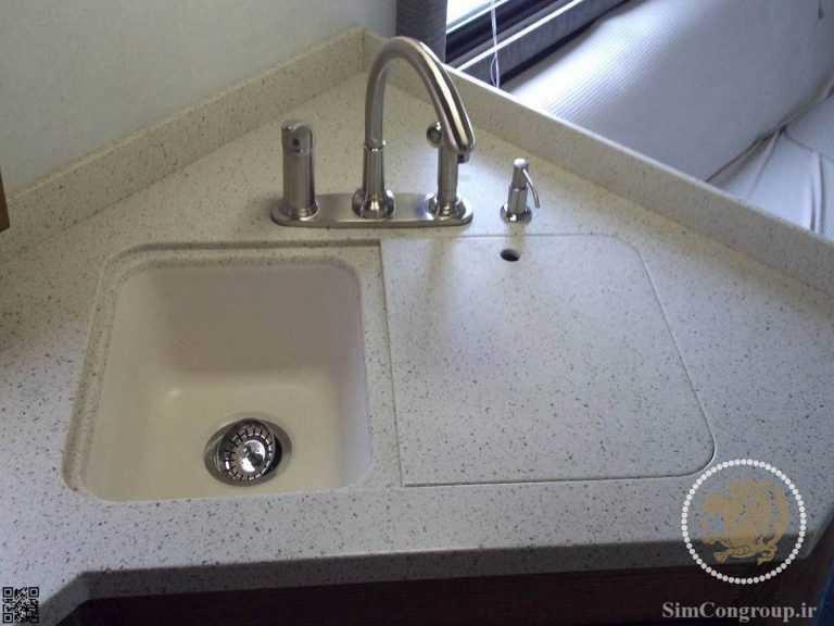 نصب و برش سینک سنگ کورین آشپزخانه