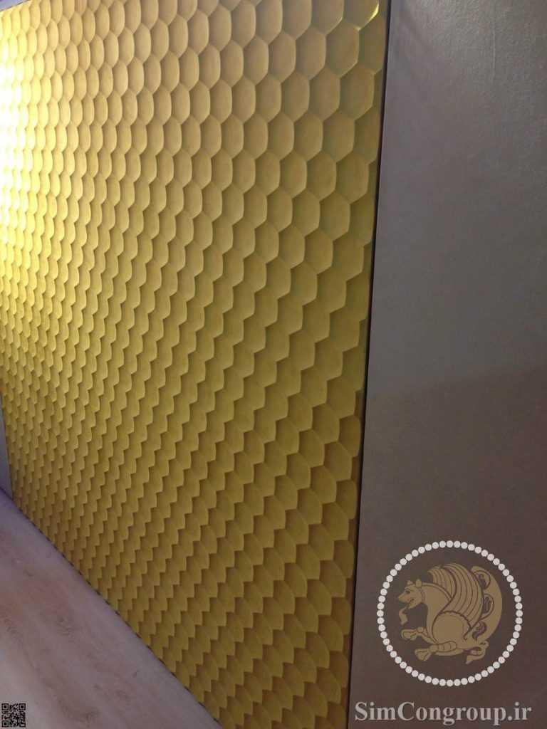دیوارپوش سه بعدی پی وی سی برجسته طلایی