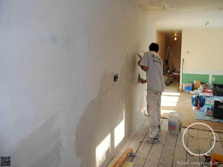 زیرسازی دیوار گچی و بتونه کاری پیش از نصب کاغذ دیواری