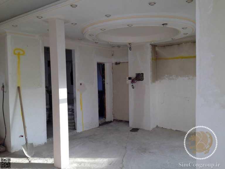 بتونه کاری سقف و دیوار پیش از نقاشی ساختمان