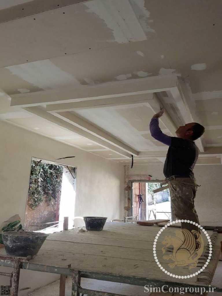 نصب کناف سقف توسط استادکار