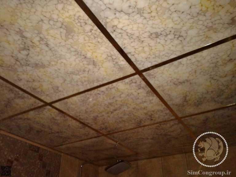 سازه استیل سقف کاذب با روکش طلایی و پانل طلایی