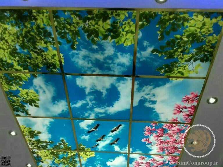 سقف کاذب آشپزخانه آسمان و درخت