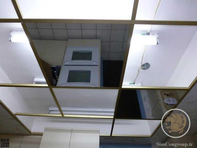 سقف کاذب آینه ای دستشویی با سازه طلایی