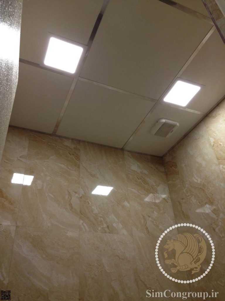 سقف کاذب پی وی سی دستشویی سفید براق