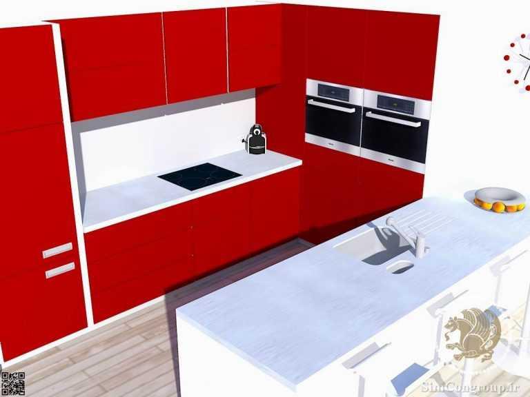 طراحی سه بعدی آشپزخانه کوچک