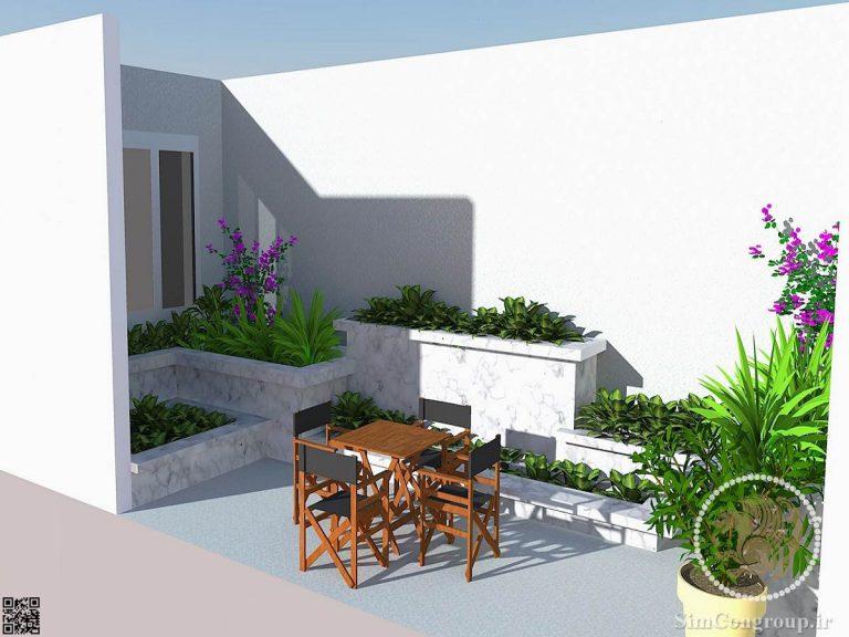 طراحی سه بعدی حیاط منزل