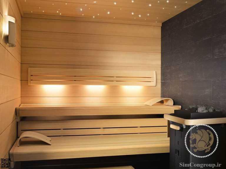 طراحی داخلی اتاق سونا با چوب