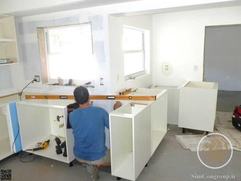نصب کابینت آشپزخانه ام دی اف توسط استادکار