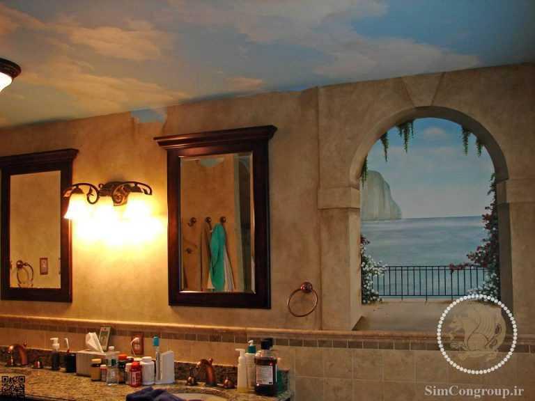 نقاشی سقف حمام و سرویس بهداشتی