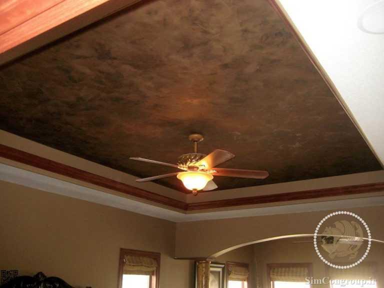 نقاش و پتینه شکلاتی سقف هال و پذیرایی