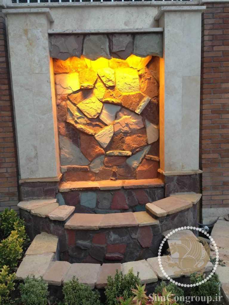 نورپردازی آبنما سنگی حیاط