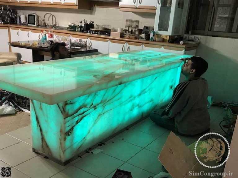 نورپردازی کانتر سنگی آشپزخانه