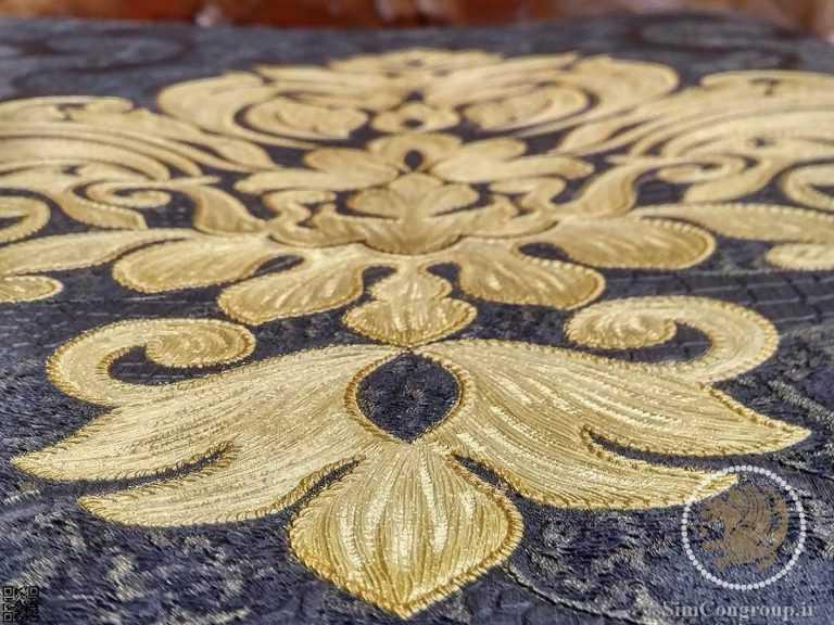 کاغذ دیواری برجسته طلایی و طوسی