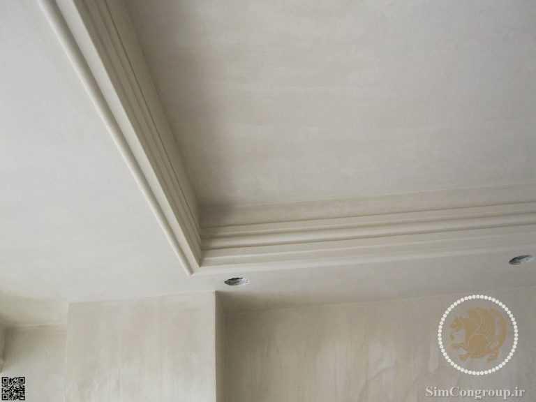 گچ کاری سقف پذیرایی بدون نور مخفی و فقط هالوژن