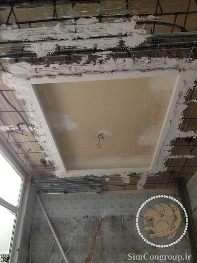 گچبری و گچ کاری سقف آشپزخانه