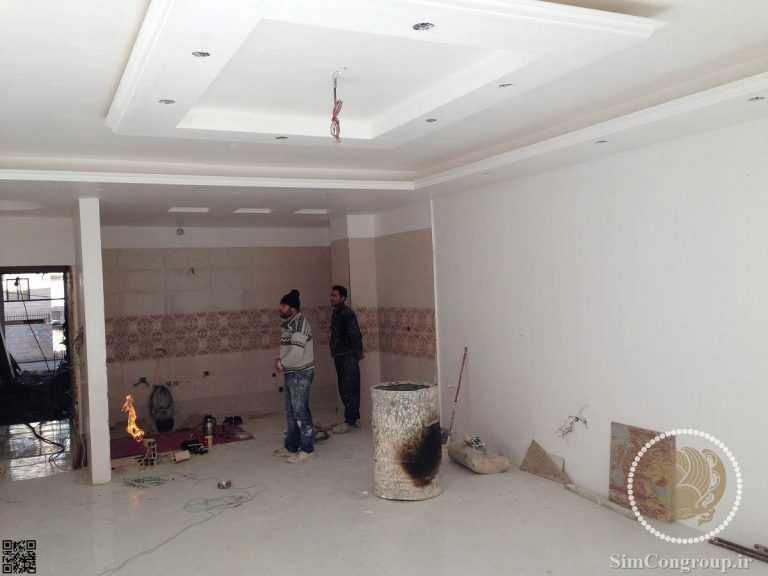 گچبری و گچ کاری سقف ساختمان با نور مخفی