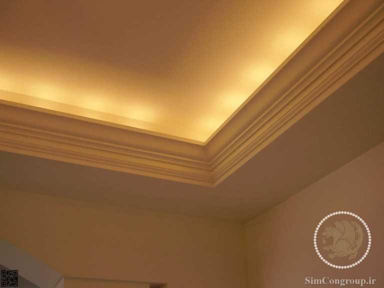 گچ کاری نور مخفی سقف پذیرایی بدون هالوژن
