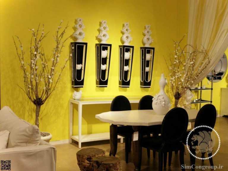ترکیب زرد و سفید در رنگ دیوار