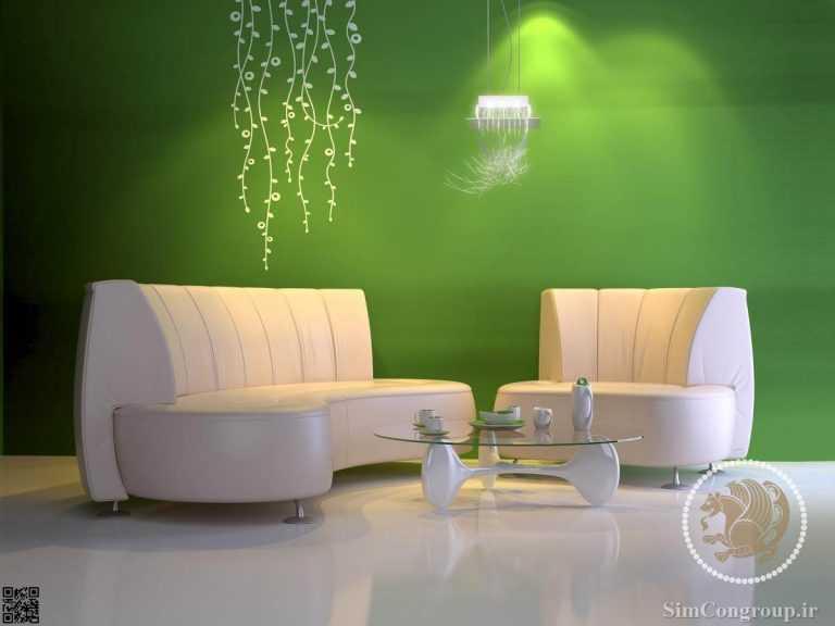 ترکیب سبز و سفید در رنگ خانه