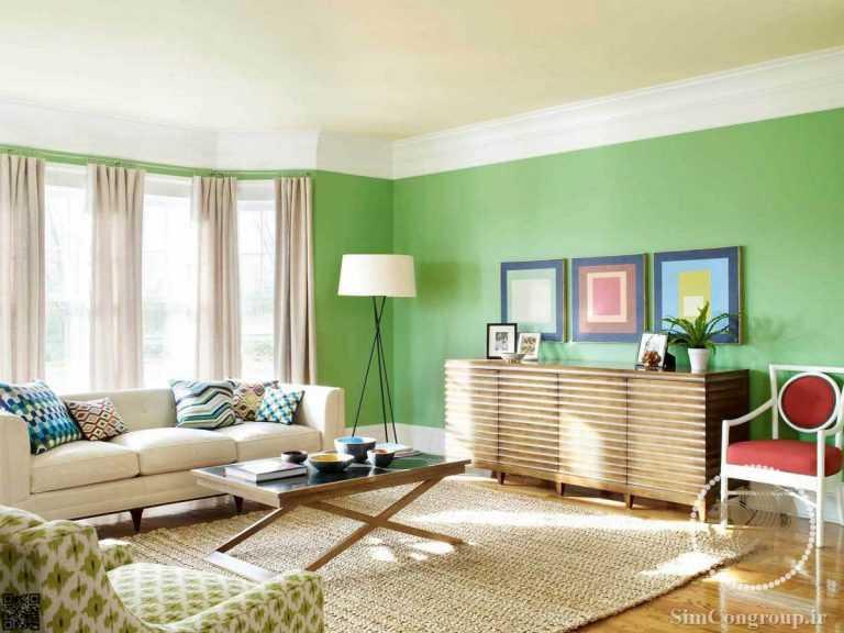 ترکیب سبز و سفید در رنگ دیوار