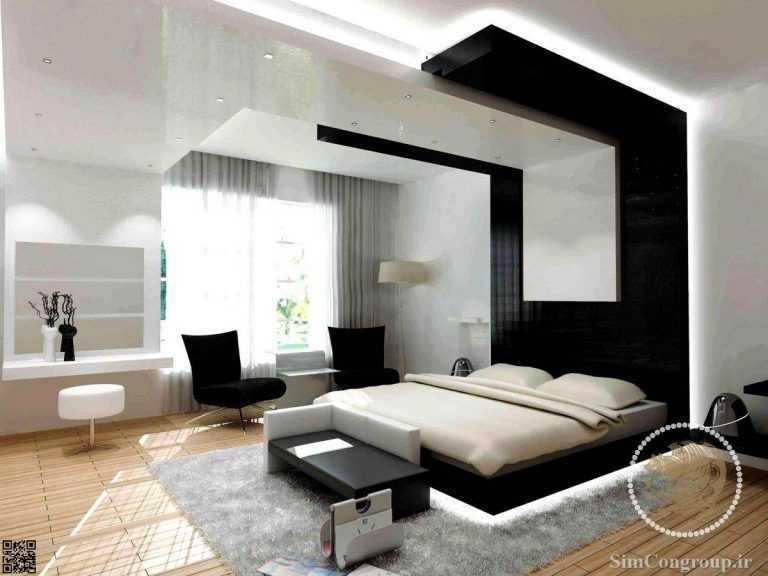 ترکیب سیاه و سفید در رنگ اتاق خواب