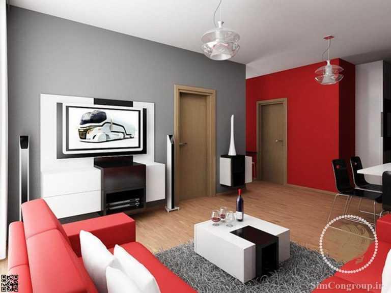ترکیب قرمز و طوسی در رنگ خانه