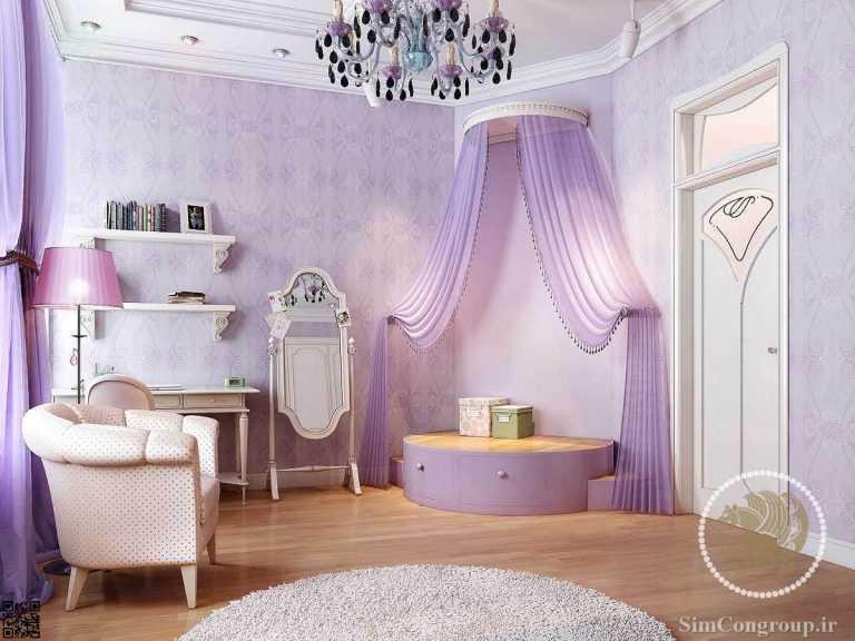 رنگ بنفش اتاق خواب
