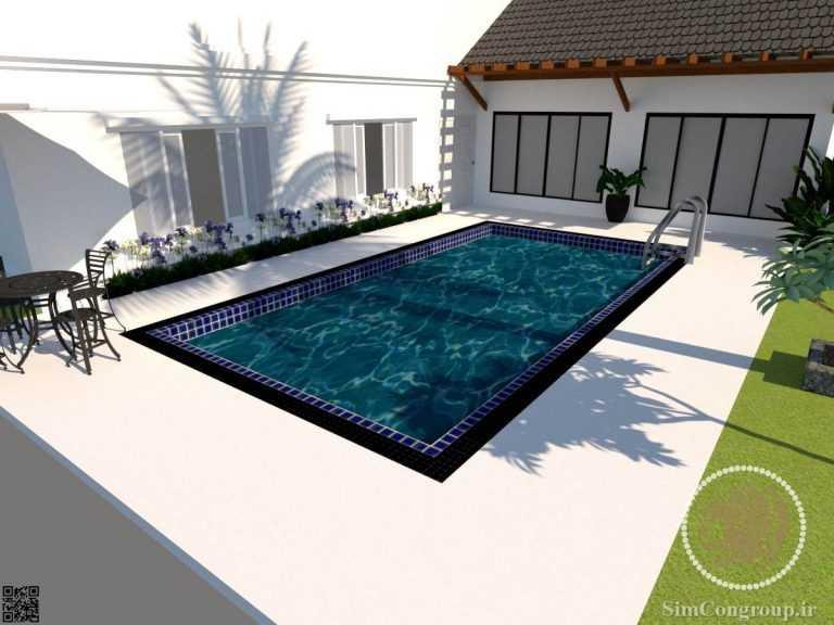 طراحی سه بعدی استخر باغ