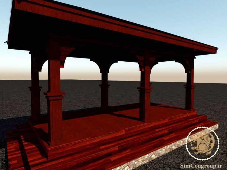 طراحی سه بعدی سایه بان چوبی