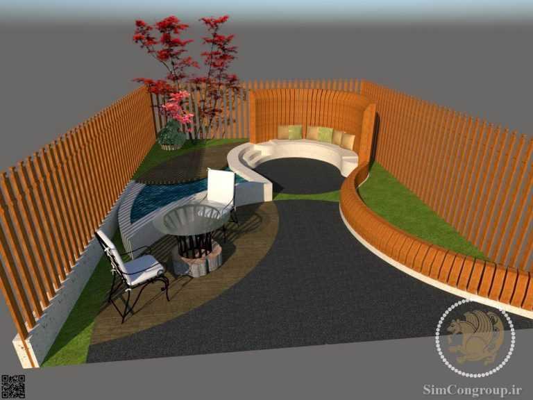 طراحی سه بعدی حیاط خلوت