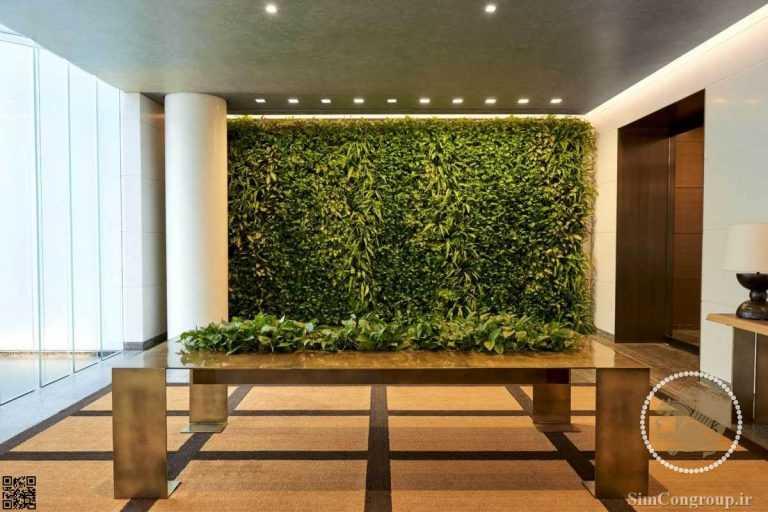 دیوار سبز در طراحی لابی ساختمان