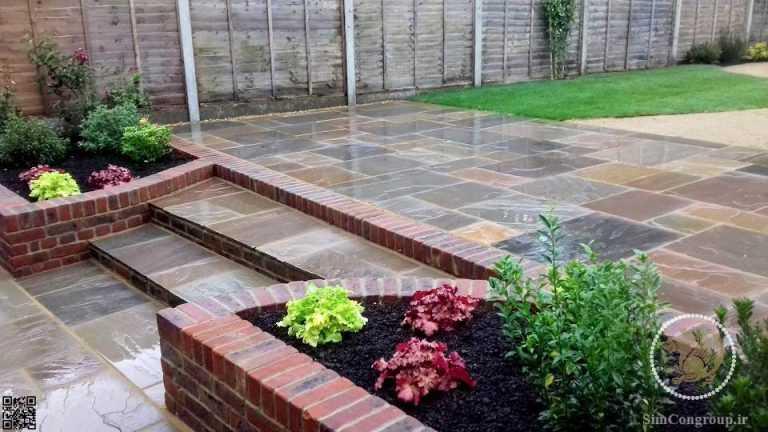 طراحی باغچه حیاط و گل آرایی با آجر نما