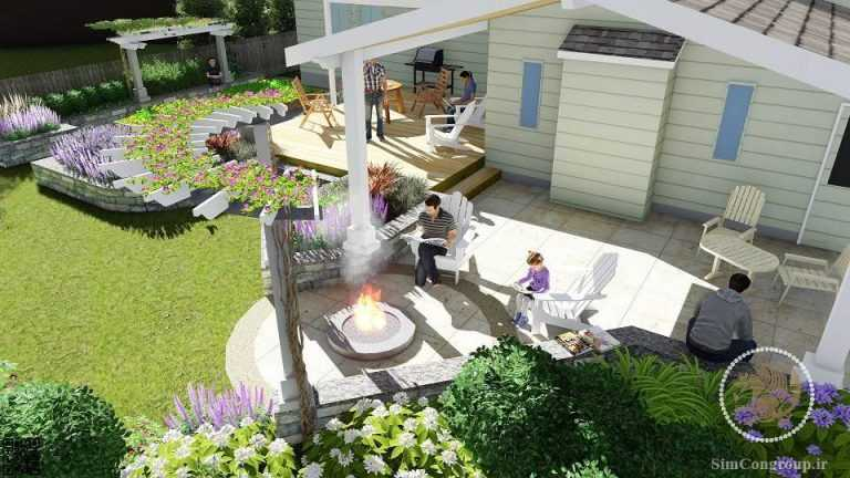 طراحی سه بعدی باغچه حیاط