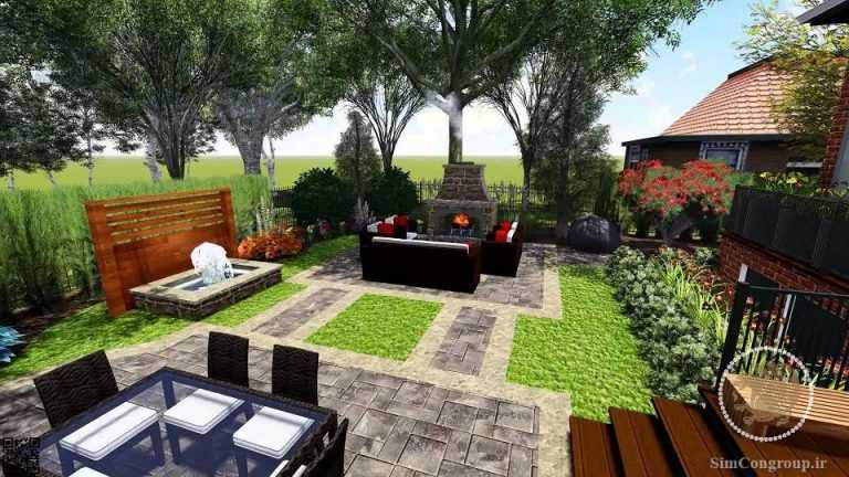 طراحی سه بعدی حیاط
