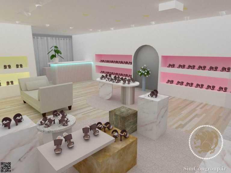 طراحی سه بعدی دکوراسیون مغازه