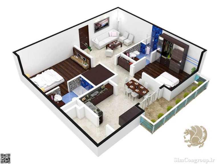 چیدمان منزل دو خوابه کوچک