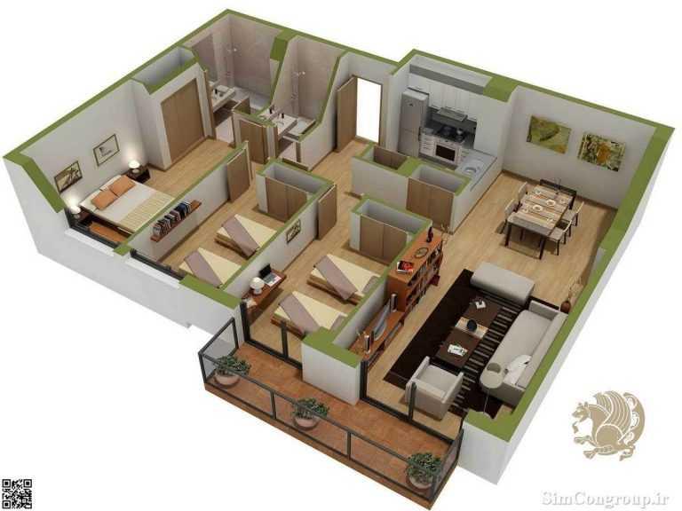 چیدمان منزل سه خوابه بزرگ