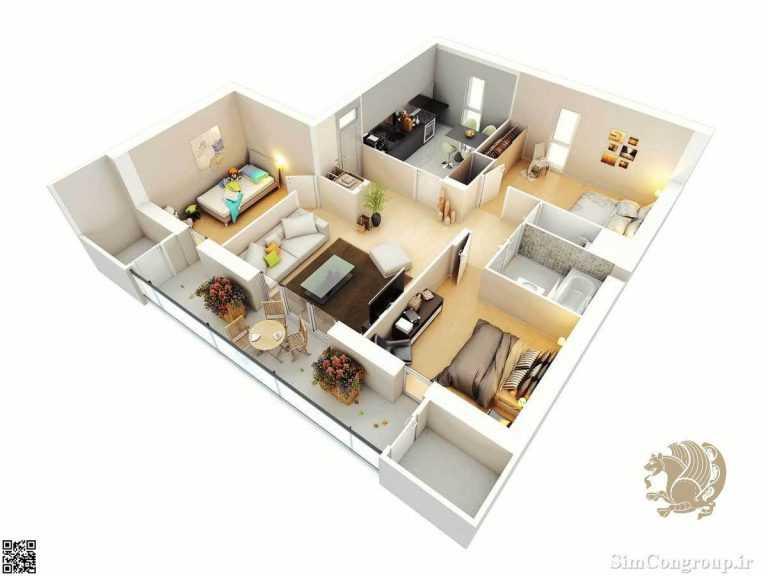 چیدمان منزل سه خوابه کوچک