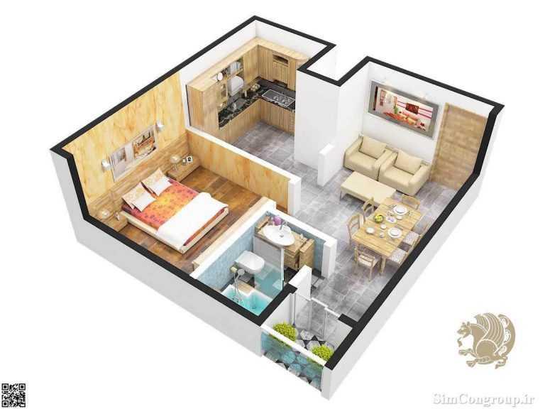 چیدمان منزل یک خوابه کوچک