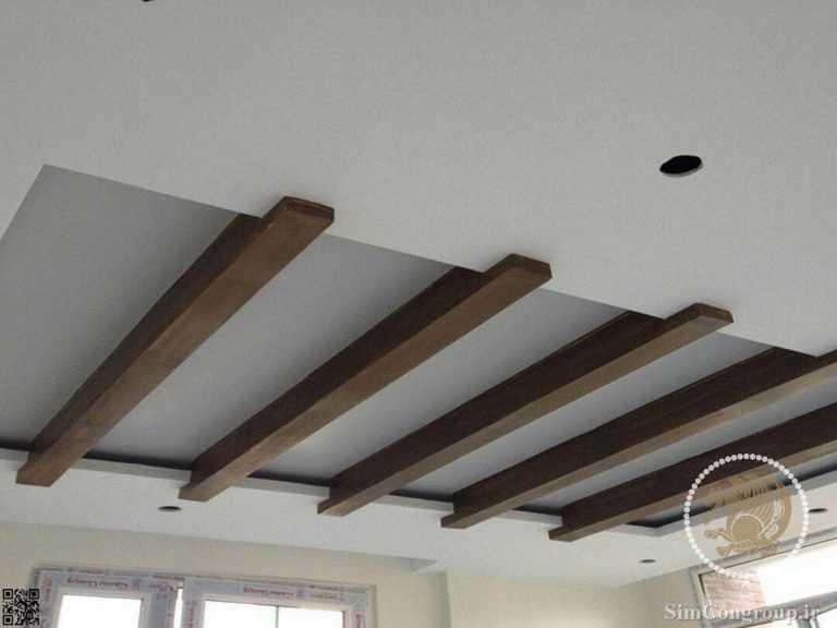 کناف سقف طرح چوب