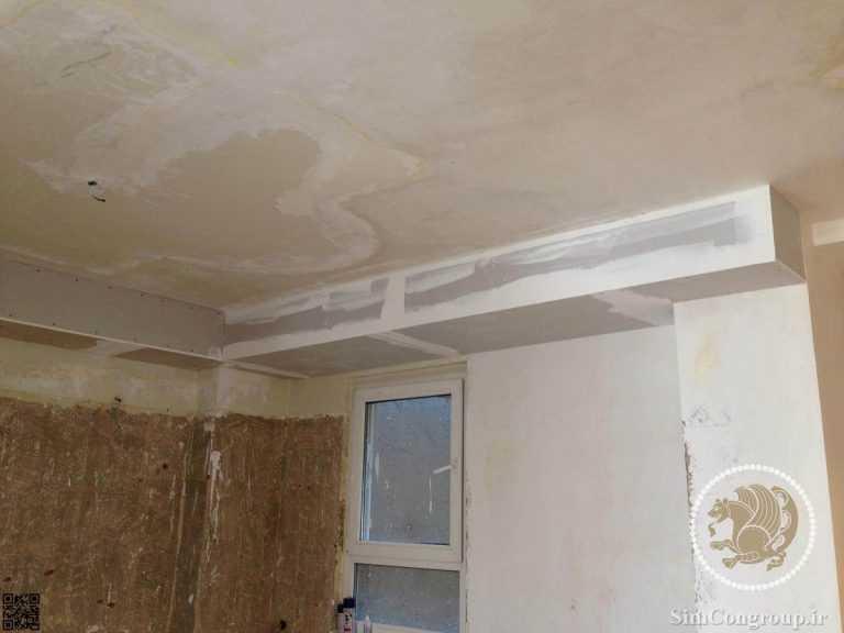 کناف سقف برای پوشش لوله فاضلاب