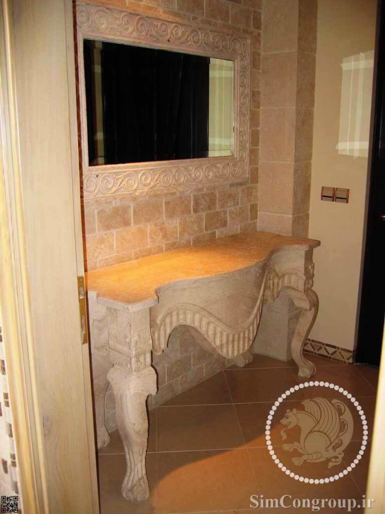 سنگ ساختمانی در دستشویی