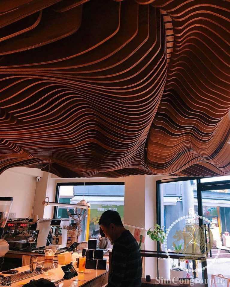 طراحی مدرن سقف کافه