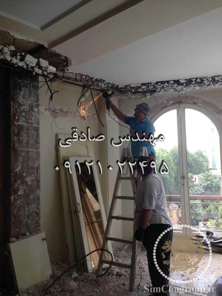 تخریب گچبری سقف